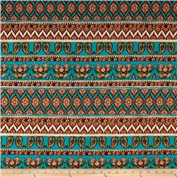 Rayon Jersey Knit Upward Twin Paisleys - Teal/Beige
