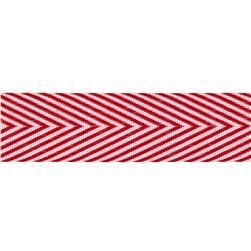 3/4'' Twill Tape Chevron Stripes Red