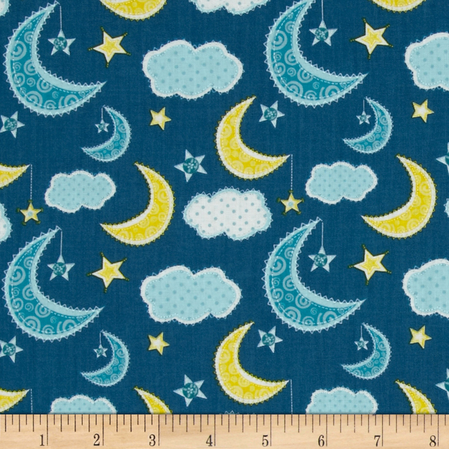 Dream A Little Dream Night Sky Navy Fabric