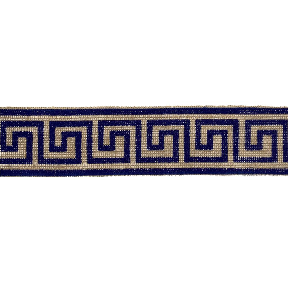 "2 3/8"" Burlap Trim Greek Key Navy Blue"