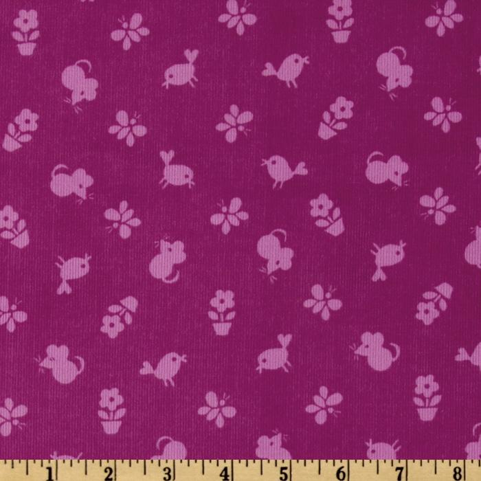 Timeless Treasures Flower Power 21 Wale Corduroy Tonal Birds & Mice Grape