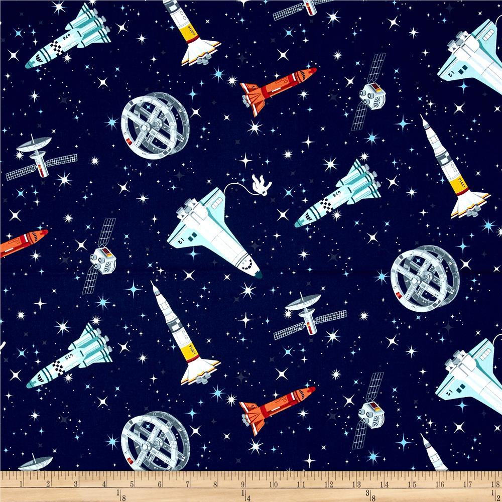 Andover galaxy rockets multi discount designer fabric for Space cotton fabric