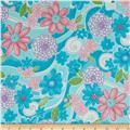 Cotton Candy Flannel Floral Swirl Aqua