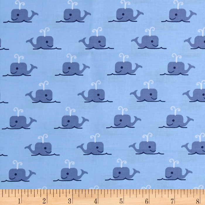 Image of All Hands On Deck Whales Blue Fabric