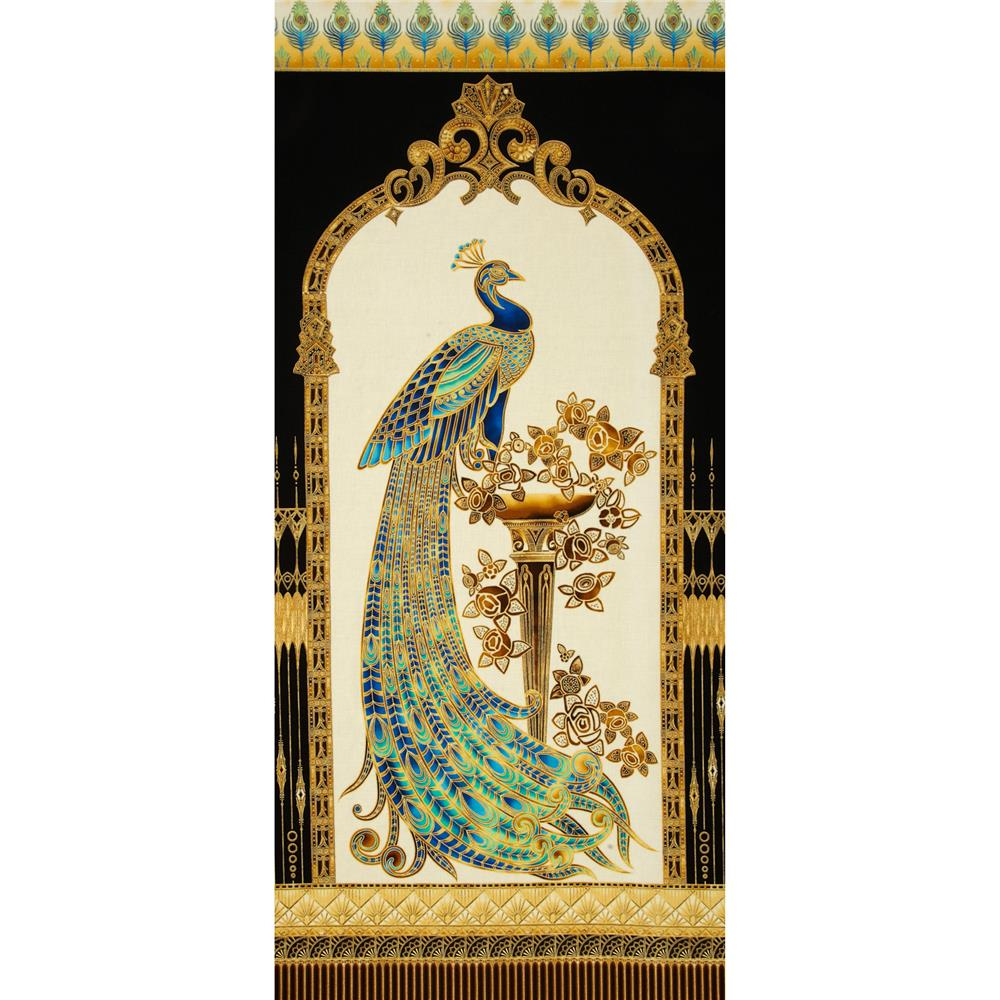 Beau Monde Metallic Peacock 24 In. Panel Peacock