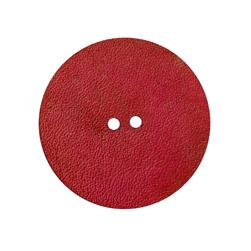 2'' Leather Button Round Red