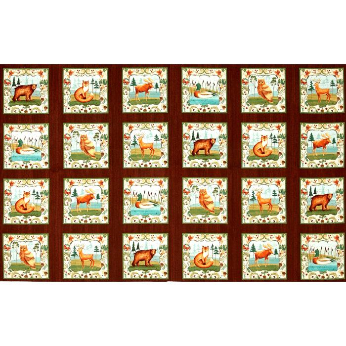 Wild Woods Block Panel Multi Fabric By The Yard