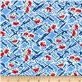 Farmhouse Blooms Daisy on Check Blue