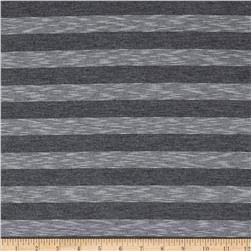 Yarn Dyed Slub Jersey Knit Stripes Grey/White