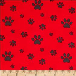 Avalana Jersey Knit Paw Prints Red