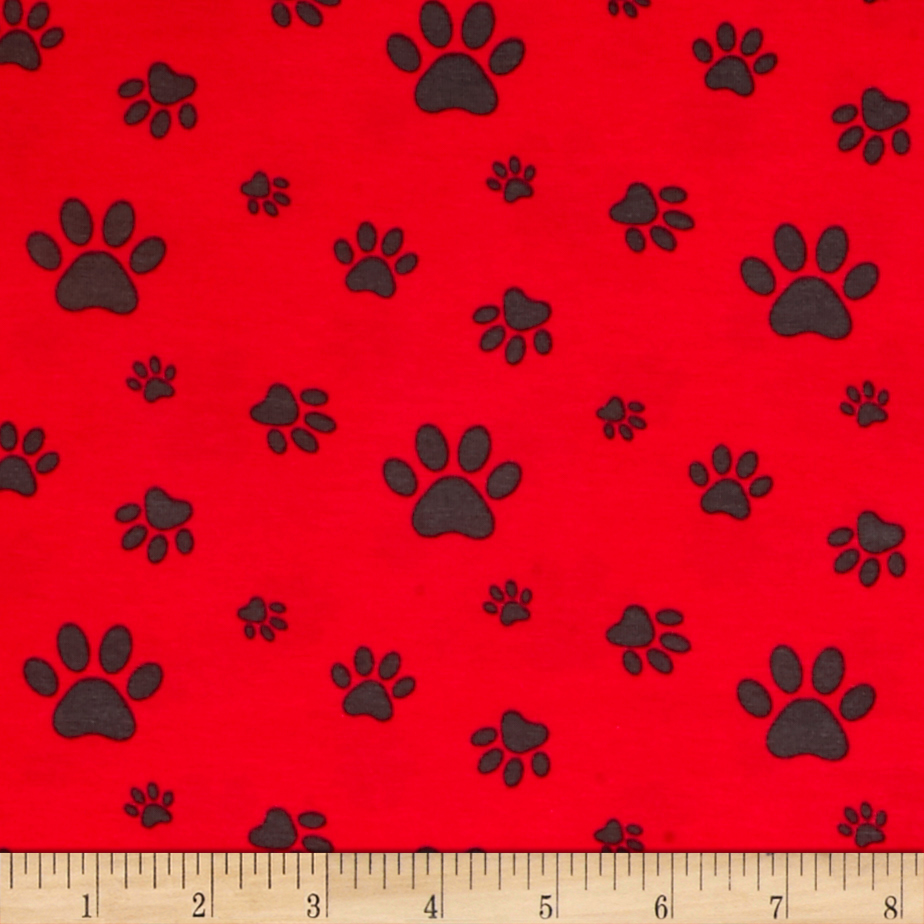 Avalana Jersey Knit Paw Prints Red Fabric