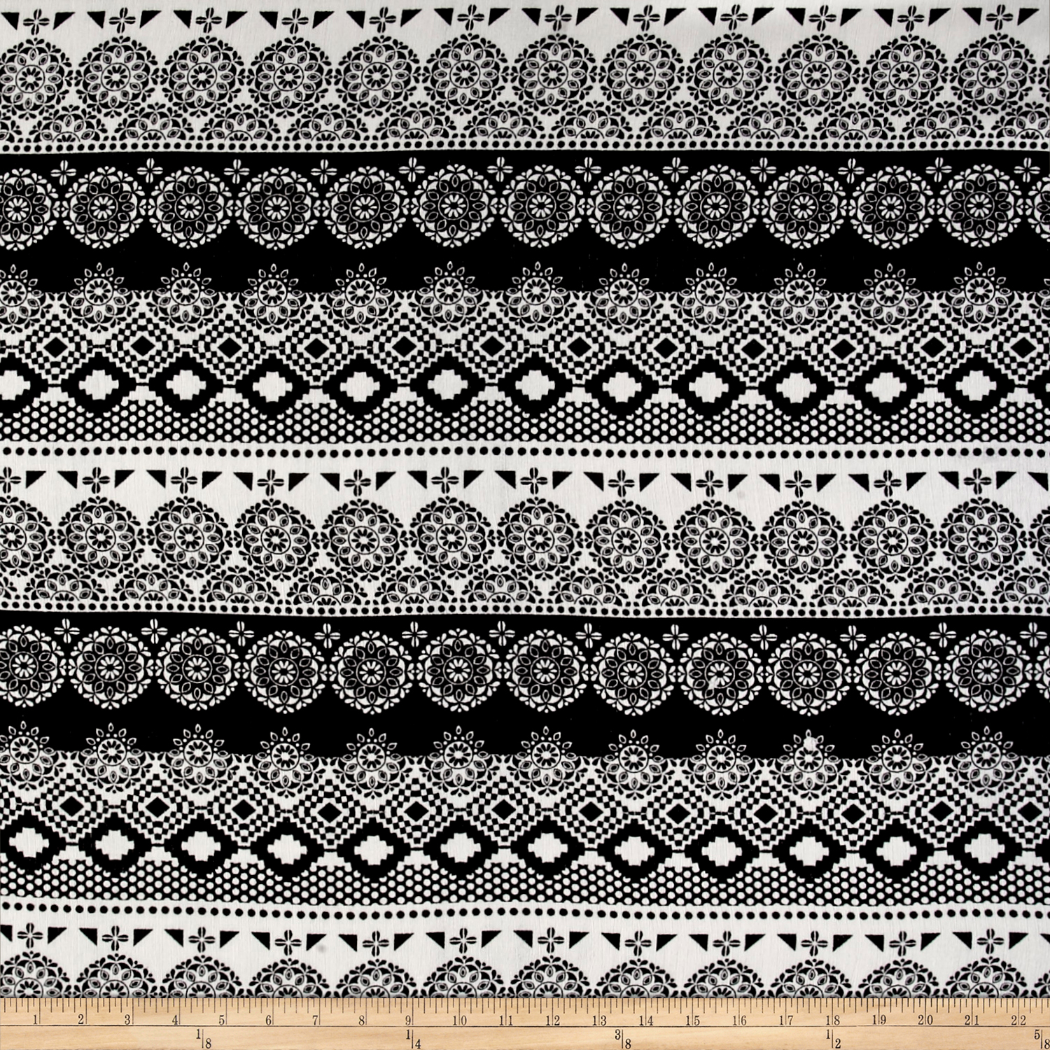 Rayon Challis Aztech Black Round Medallion On White Fabric
