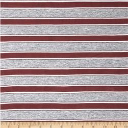 Cotton Lycra Yarn Dyed Jersey Knit Stripe Smoke Mauve/Grey