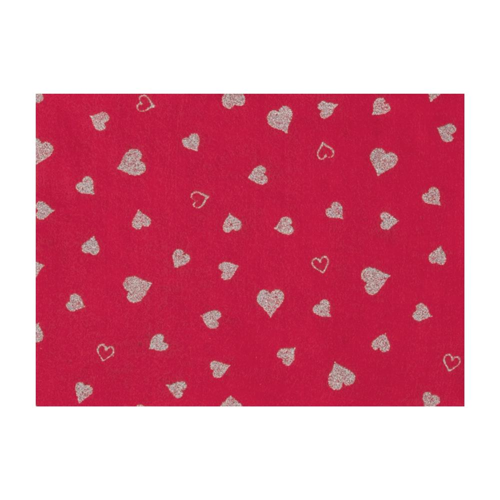 "Fanci Felt 9x12"" Craft Cut Twinkle Heart Shocking Pink"