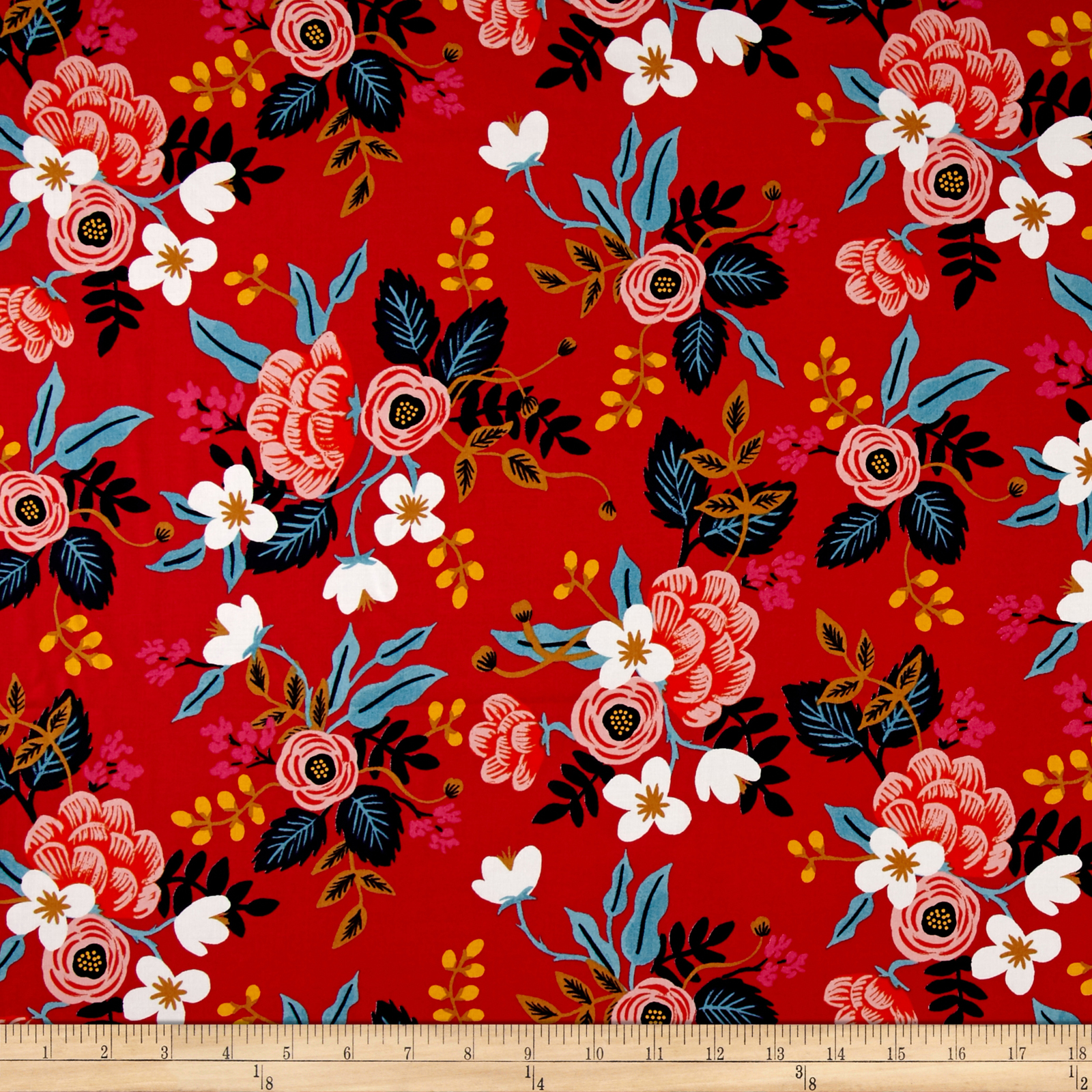 Cotton + Steel Rifle Paper Co. Les Fleurs Rayon Challis Birch Floral Enamel Fabric by Cotton & Steel in USA