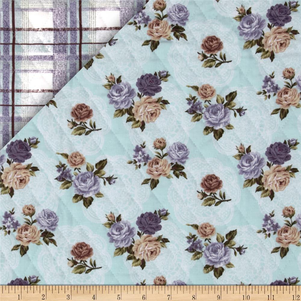 Bedford Place Double Sided Quilted Small Floral Aqua