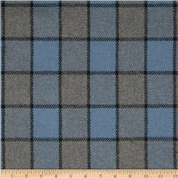 Wool Plaid Suiting Baby Blue/Grey