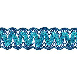 "1 1/4"" Nikki Sequin Metallic Braid Trim Roll Turquoise"