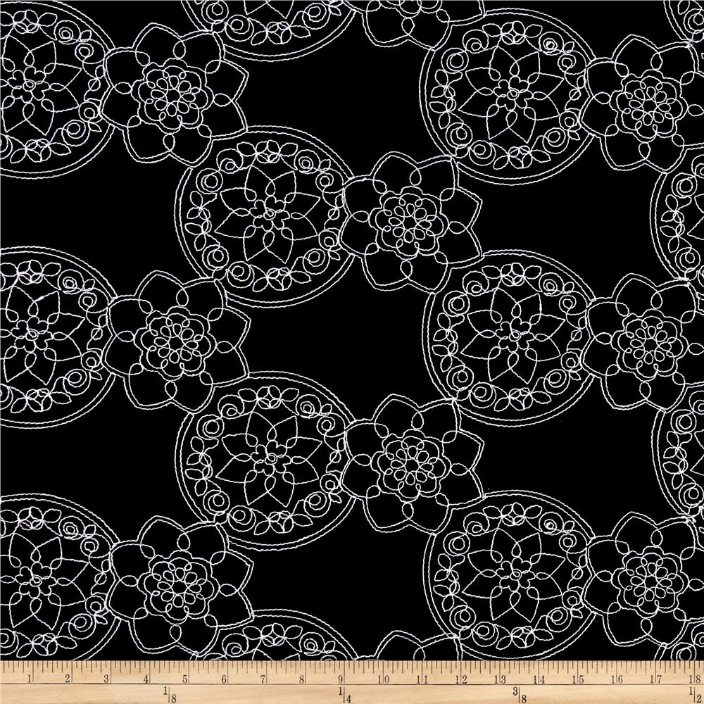Embroidered Cotton Floral Black/White