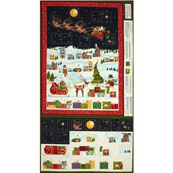 Christmas Metallic Advent Calender Panel Blue