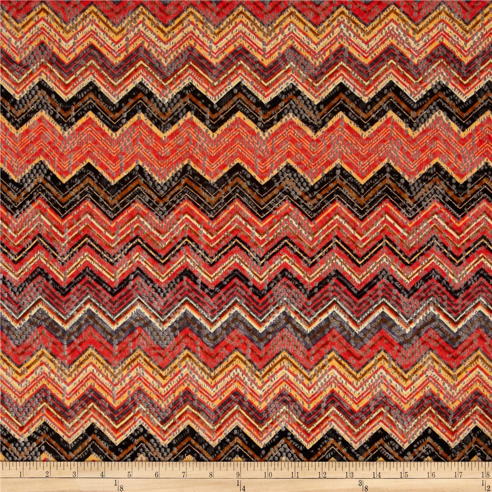 Crochet Lace Knit Chevron Orange/Black/Brown