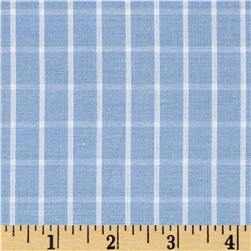Cotton Lawn Plaids Light Blue/White