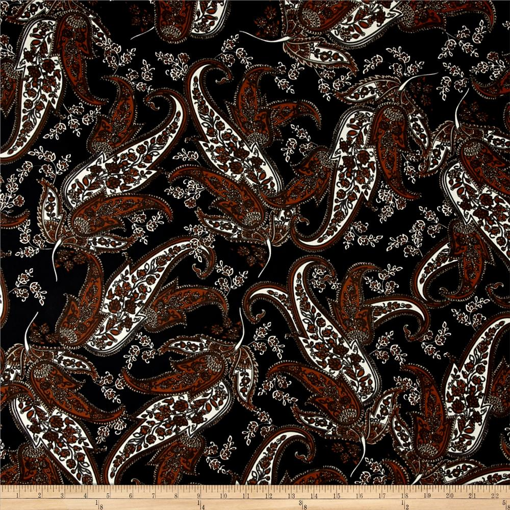 Telio Monaco Stretch ITY Knit Paisley Print Black/Brown