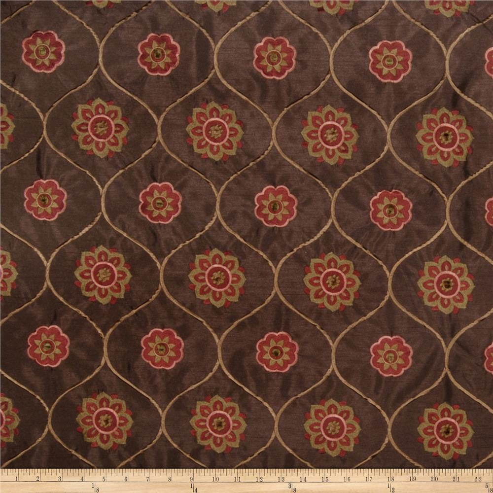 Jaclyn Smith Embroidered Quatrefoil Spice