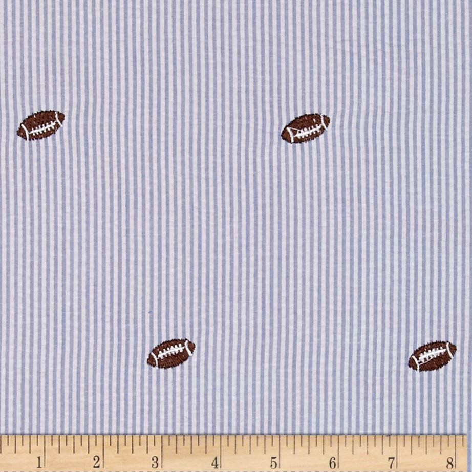 Classic Seersucker Light Blue/White Football Brown