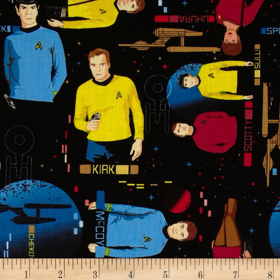 Star Trek Main Characters Black Fabric