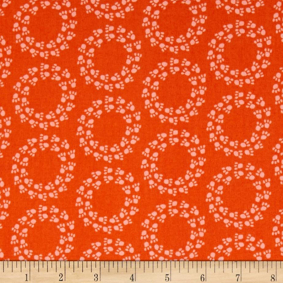 Kaufman Doodle Pop Paw Prints Orange