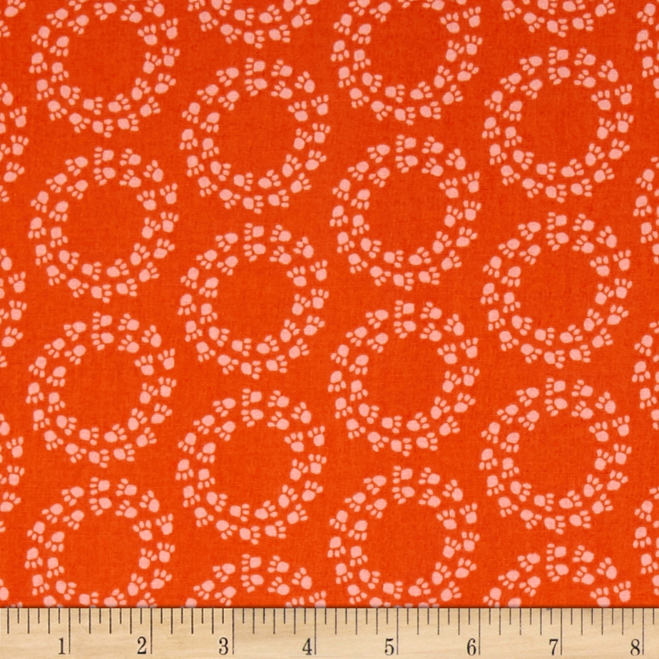 Kaufman Doodle Pop Paw Prints Orange Fabric