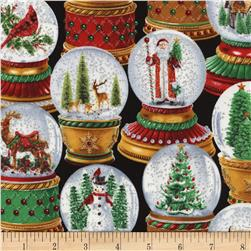 Timeless Treasures Winter Wonderland Metallic Snow Globes Black