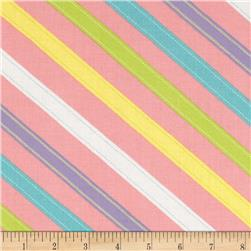 Moda ABC Menagerie Stitched Stripes Bubble Gum