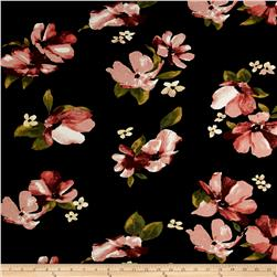 Rayon Spandex Jersey Knit Floral Blossom Black/Terracotta