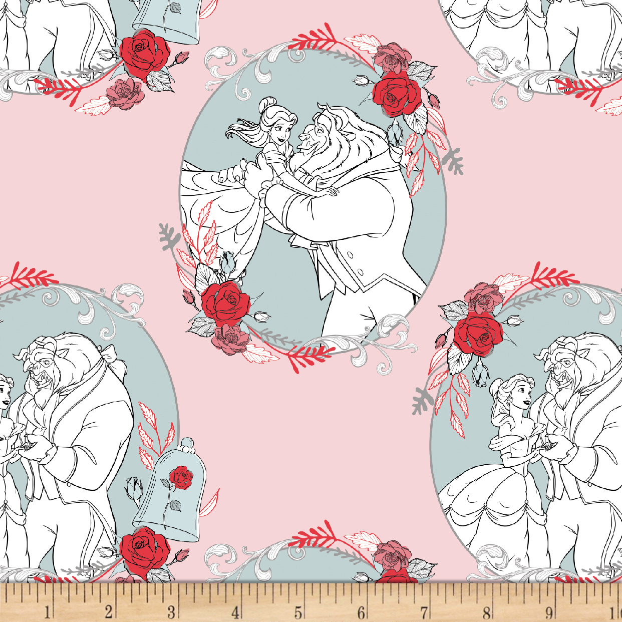 Disney Beauty and the Beast Love Light Pink Fabric by Eugene in USA