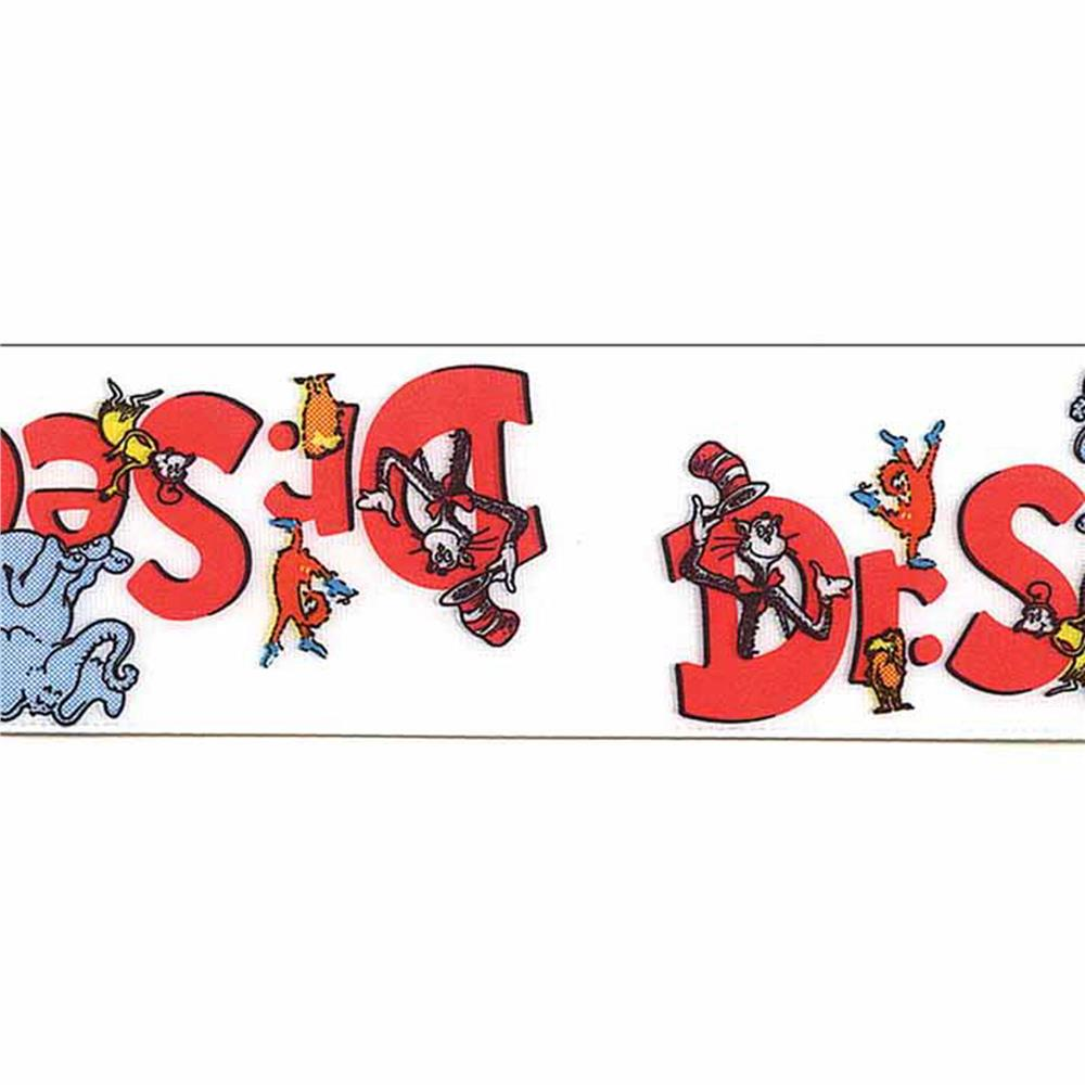 7/8'' Dr. Seuss Logo Ribbon White