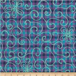 Embroidered Plaid Purple/Turquoise
