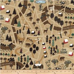 Timeless Treasures Camping Forest Map Tan