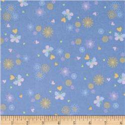 OOO Baby Flannel Tossed Butterflies Blue Fabric