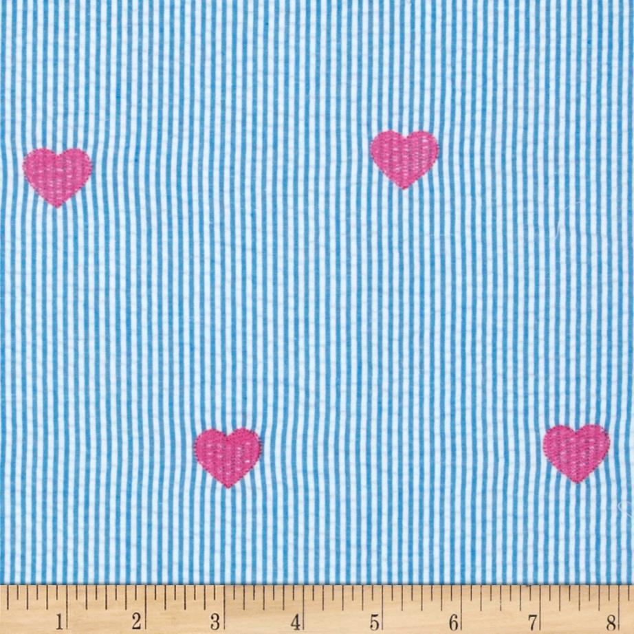 Embroidered Seersucker  Hearts Turquoise/White