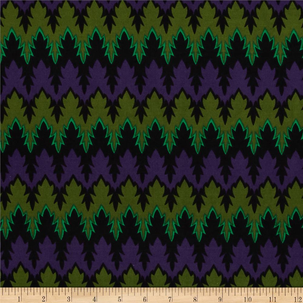 Stretch ITY Jersey Knit Groove Purple/Green