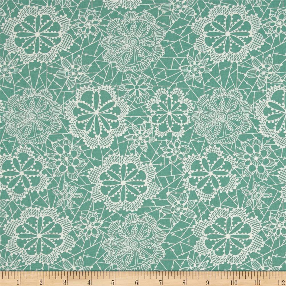Art Gallery Fleet & Flourish Lace In The Bloom Sky Fabric By The Yard