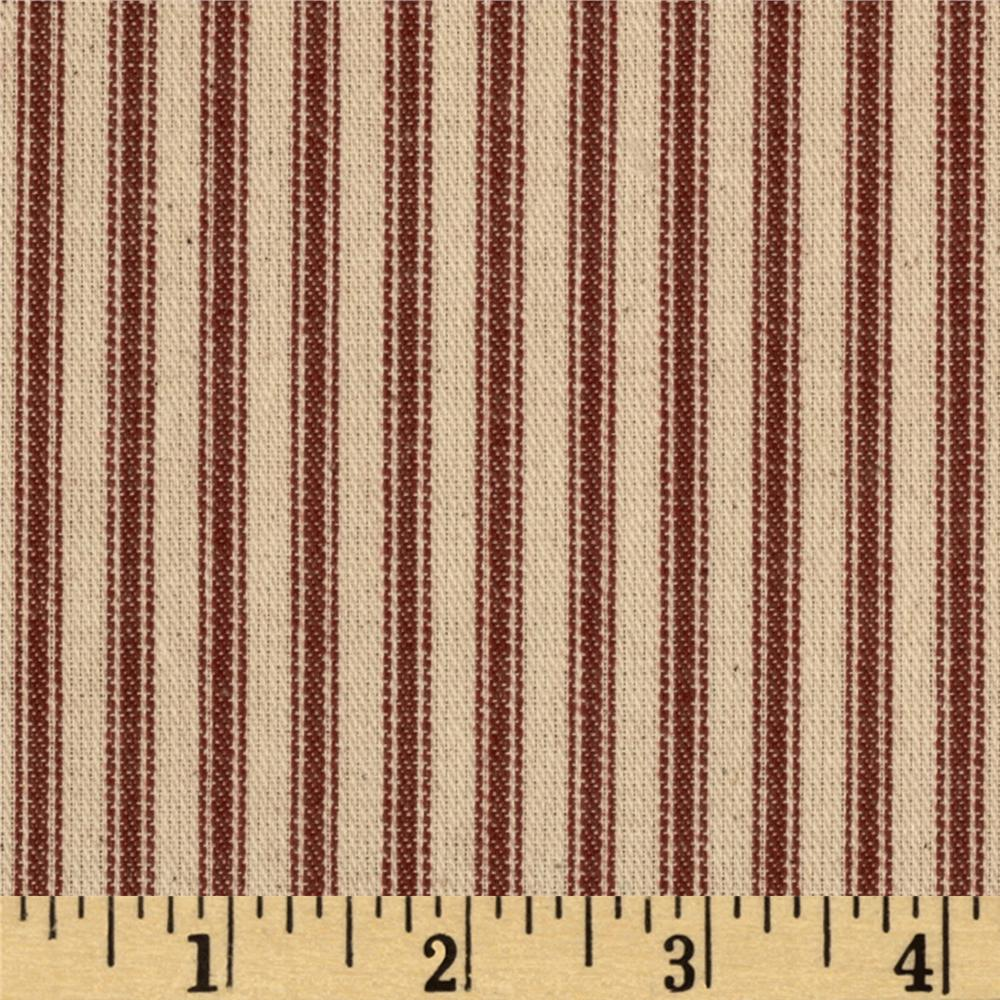 "44"" Twill Ticking Stripe Red"