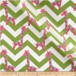 RCA Giraffe Chevron Sheers Pink/Grey/Green
