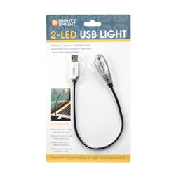 Mighty Bright 2 LED USB Light Silver