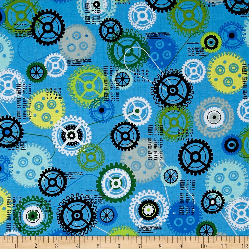 Ibot robot gears multi discount designer fabric for Robot quilt fabric
