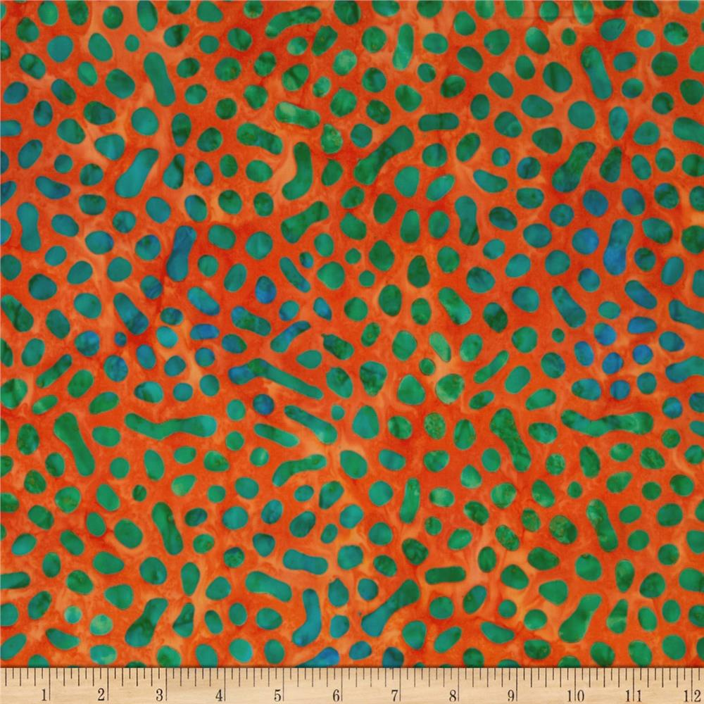 Indonesian Batiks Pop Art Pebbles Orange