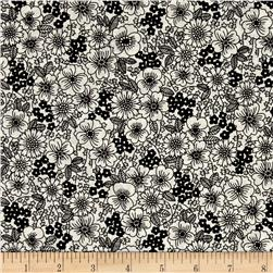 Kaufman London Calling Lawn Sketch Floral Black
