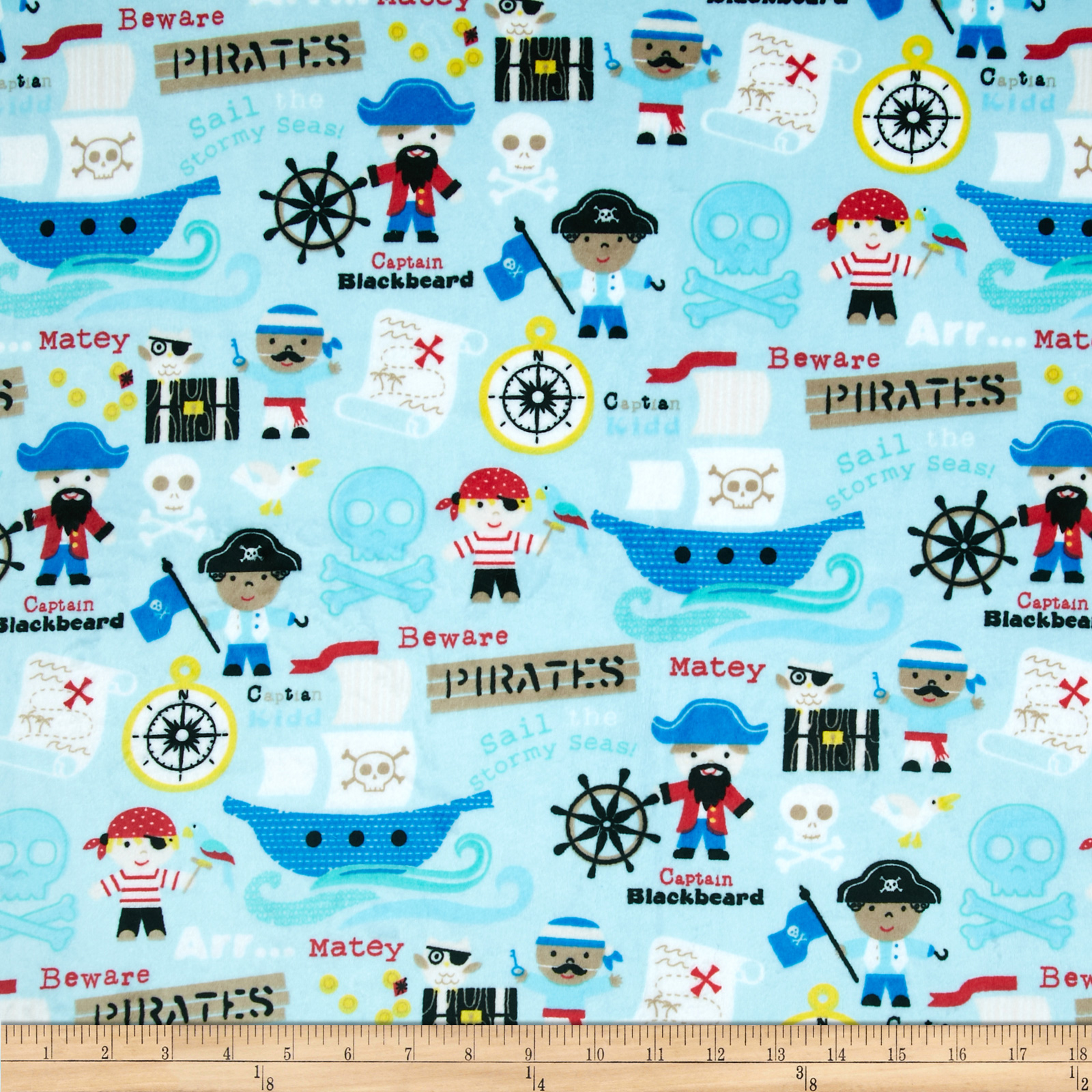 Minky Pirates Blue/Multi Fabric